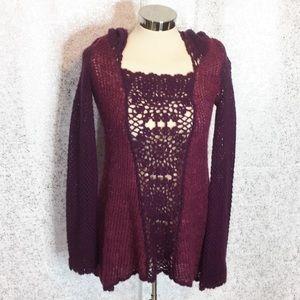 Free people crochet hooded sweater